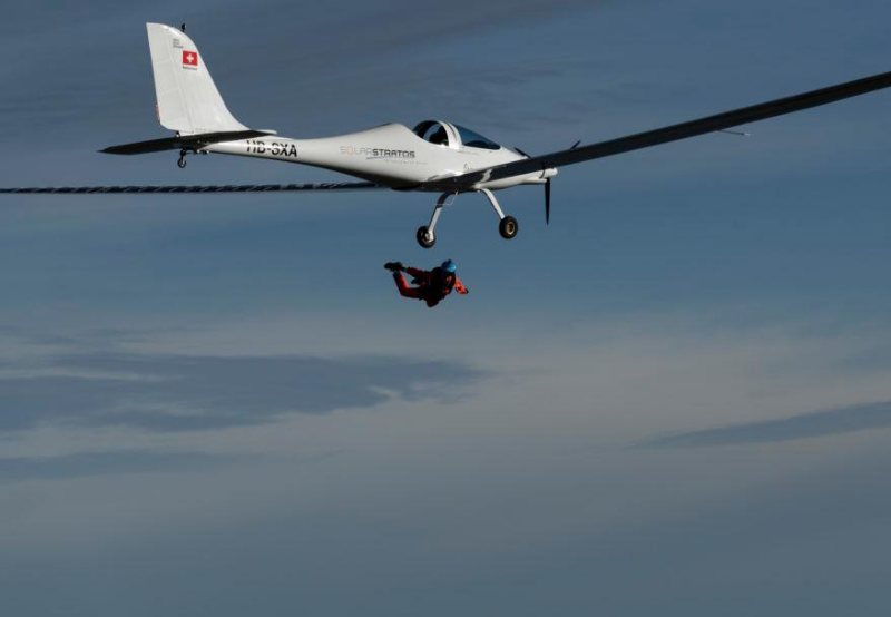 Swiss Parachutist Completes World's First Skydive from a Solar-Powered Plane